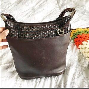 Brighton Woven Leather Shoulder Brown Bag